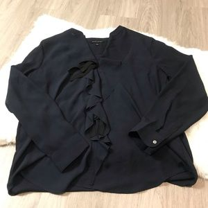 Banana Republic Navy V Neck Ruffle Front Blouse L